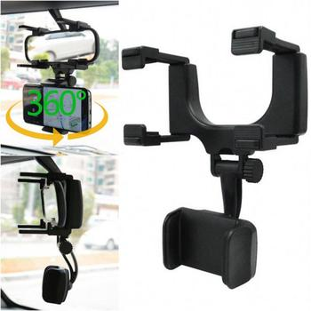 Universal Car Rearview Mirror Mount Holder Stand Cradle Cell Phone GPS 360 Degree Camera DVR Recorder Sunvisor Car Accessories image