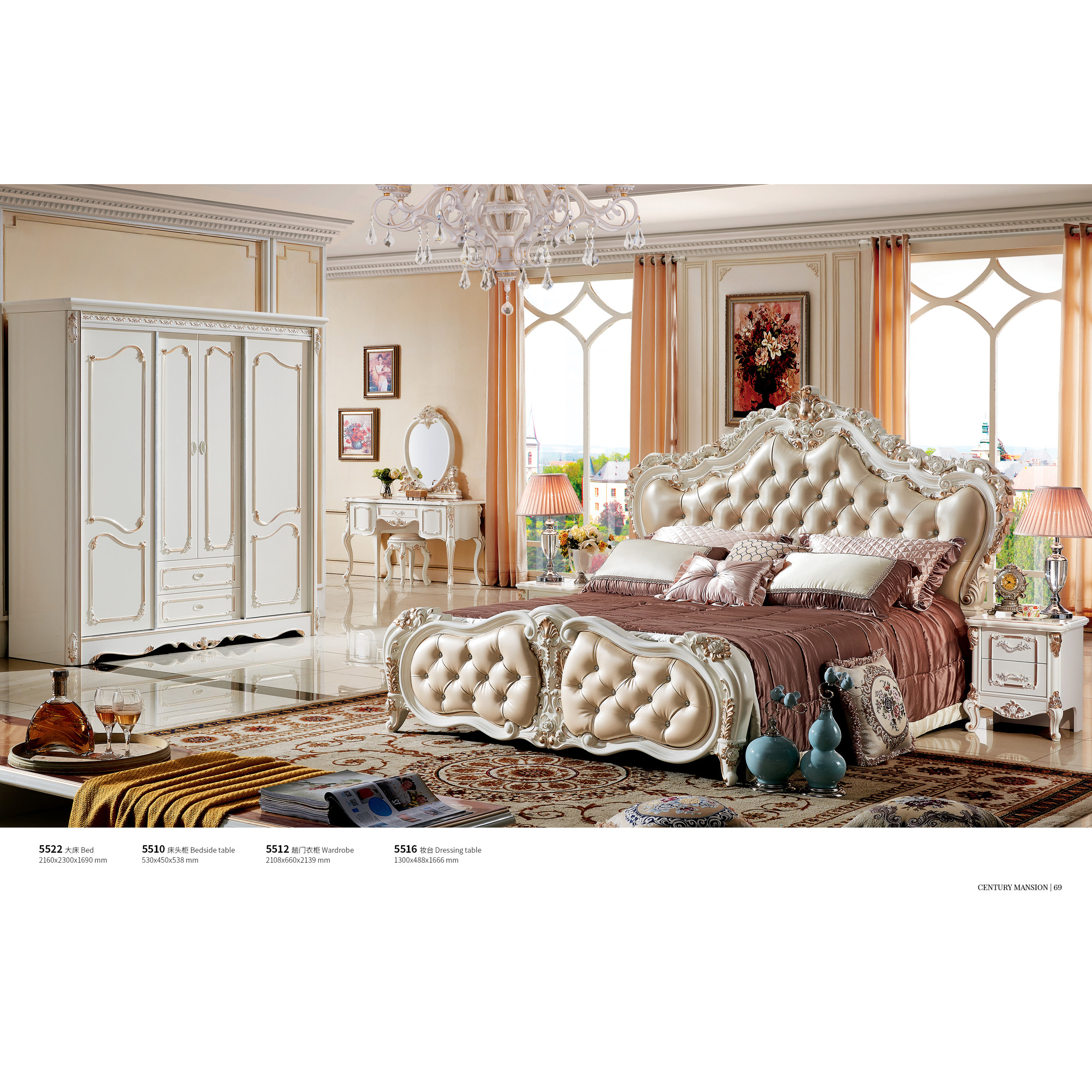 Solid Wood European Bed Leather Light