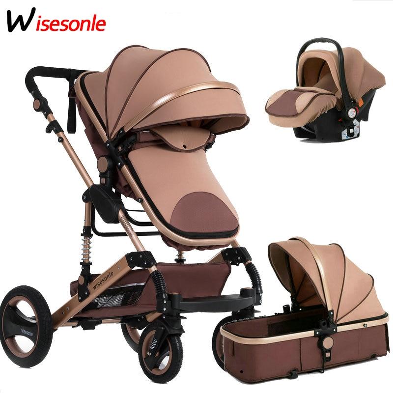 Wisesonle carrinho de bebê, carrinho de bebê de alta qualidade, pode sentar-se reclinável, 0-3 anos de idade, absorção de choque de dois sentidos, um botão para colecionar carros recém-nascidos