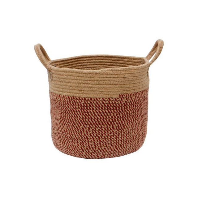 TOPSALE Large Woven Cotton Rope Storage Basket Baby Laundry Hamper Storage Bin Baskets for Organize Toy Diaper Home Decor-Pink