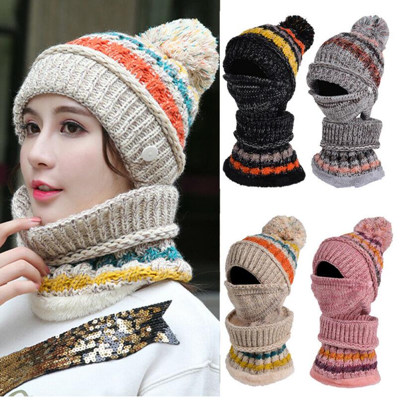 Women Winter Scarf Hat Set Scarf & Hat Mohair Wool Women Winter Knitted Beanie Hat Worm Neck Fleece Pom Neckerchief 2PCS SETS