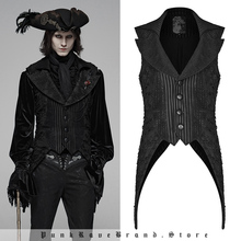 Mens Vest Steampunk Gothic Casual Sleeveless Club Decadent Asymmetric Party Dark-Stripe