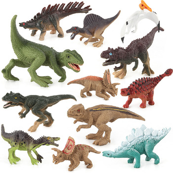 12pcs Dinosaur Model Jurassic Tyrannosaurus Dragon  Collection Soft Action Toy Figures Toys Animal Collection Model transformers toys the last knight premier edition steelbane deluxe dinobot slug autobot sqweeks action figures collection model
