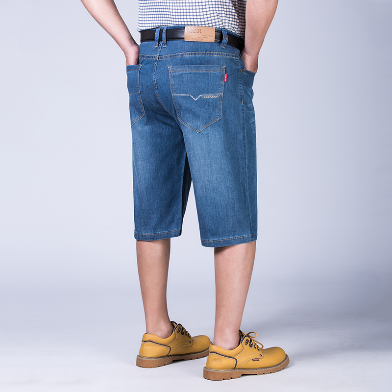 Mz1382 Denim Shorts MEN'S Pants Fat Large Size Lard-bucket Elasticity Loose-Fit Plus-sized Breeches 36-52