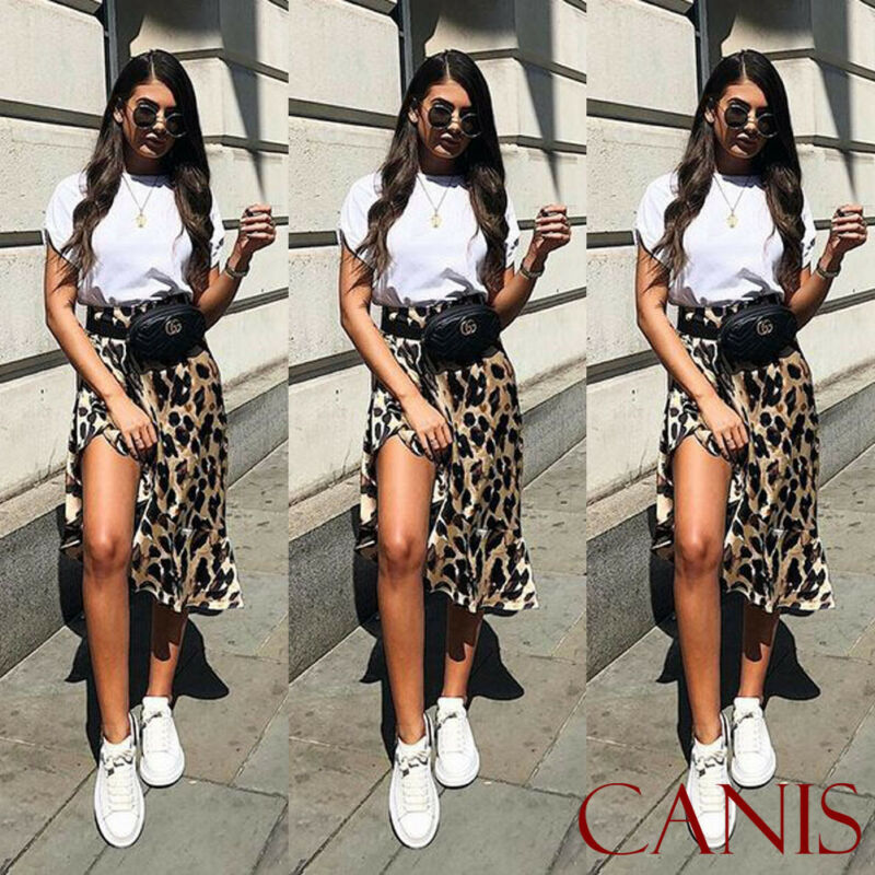 Women Leopard Front Split Prints Pencil Skirt Ladies Summer Casual Beach Cool Skirt