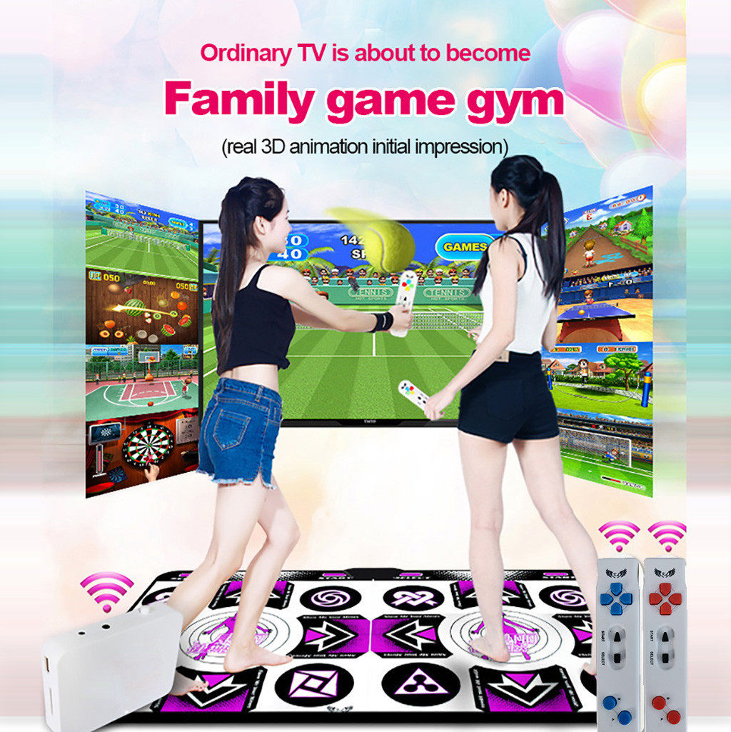 Double Dance Mat Durable Dance Machine TV Interface LED 3D Running Blanket Yoga Game Machine Silicone Massage Learning Machine HD Quality Light for Children Musical Play Mat Dancer Blanket