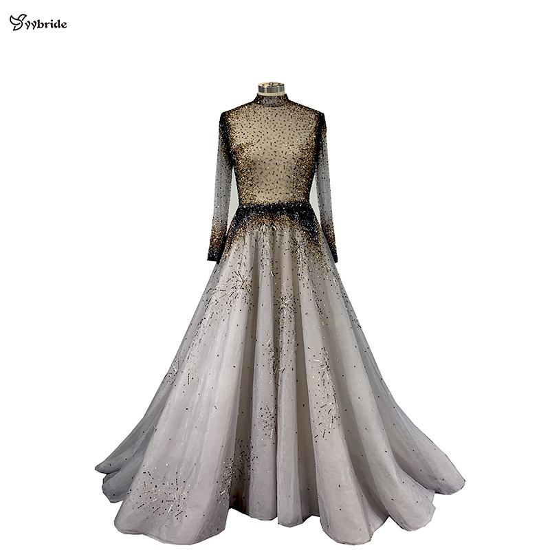 Yybride Long Sleeves A-line High Neck Evening Dresses Hand Sewing Beading Crystals Prom Dresses Bespoke Occasion Luxury Dresses