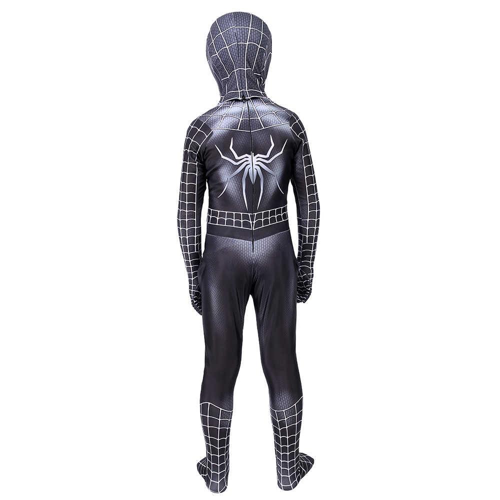 เด็ก Lycra Spandex สีดำ Spiderman เครื่องแต่งกายเด็ก Venom Spider-Man คอสเพลย์ Zentai สูท Halloween Jumpsuit