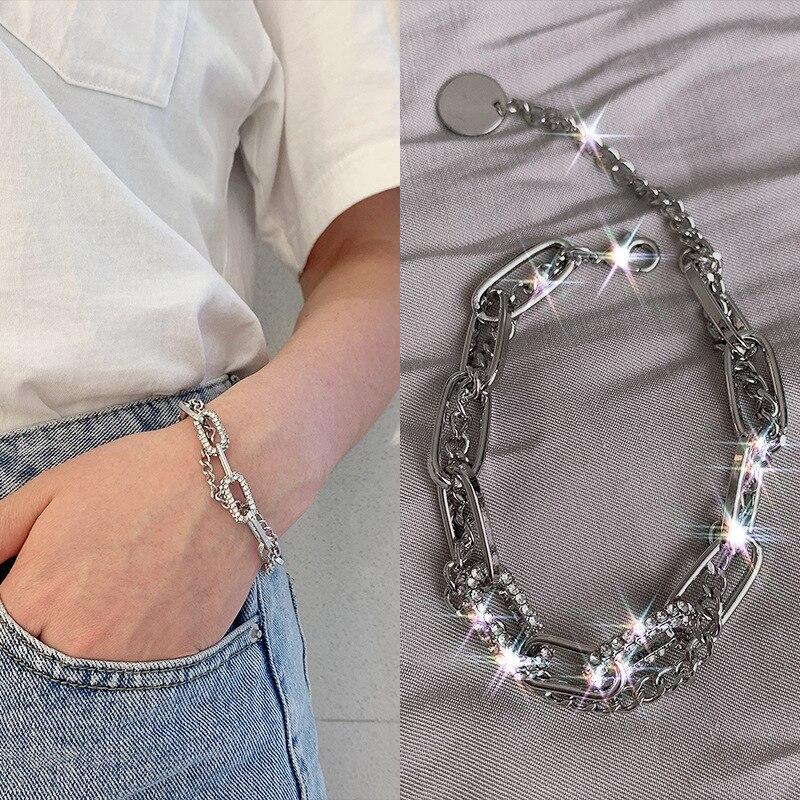Stainless Steel Semi Precious Stone Zircon Double Layers Charm Bracelets & Fashion Women's Geometric Pendant Punk Hip Hop Bracel