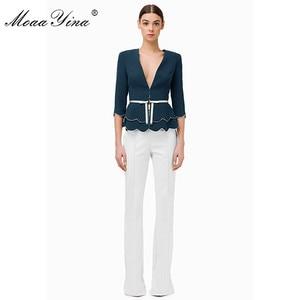 Image 3 - MoaaYina Fashion Designer Set Spring Summer Women V neck jacket Tops+Bell bottoms Two piece suit