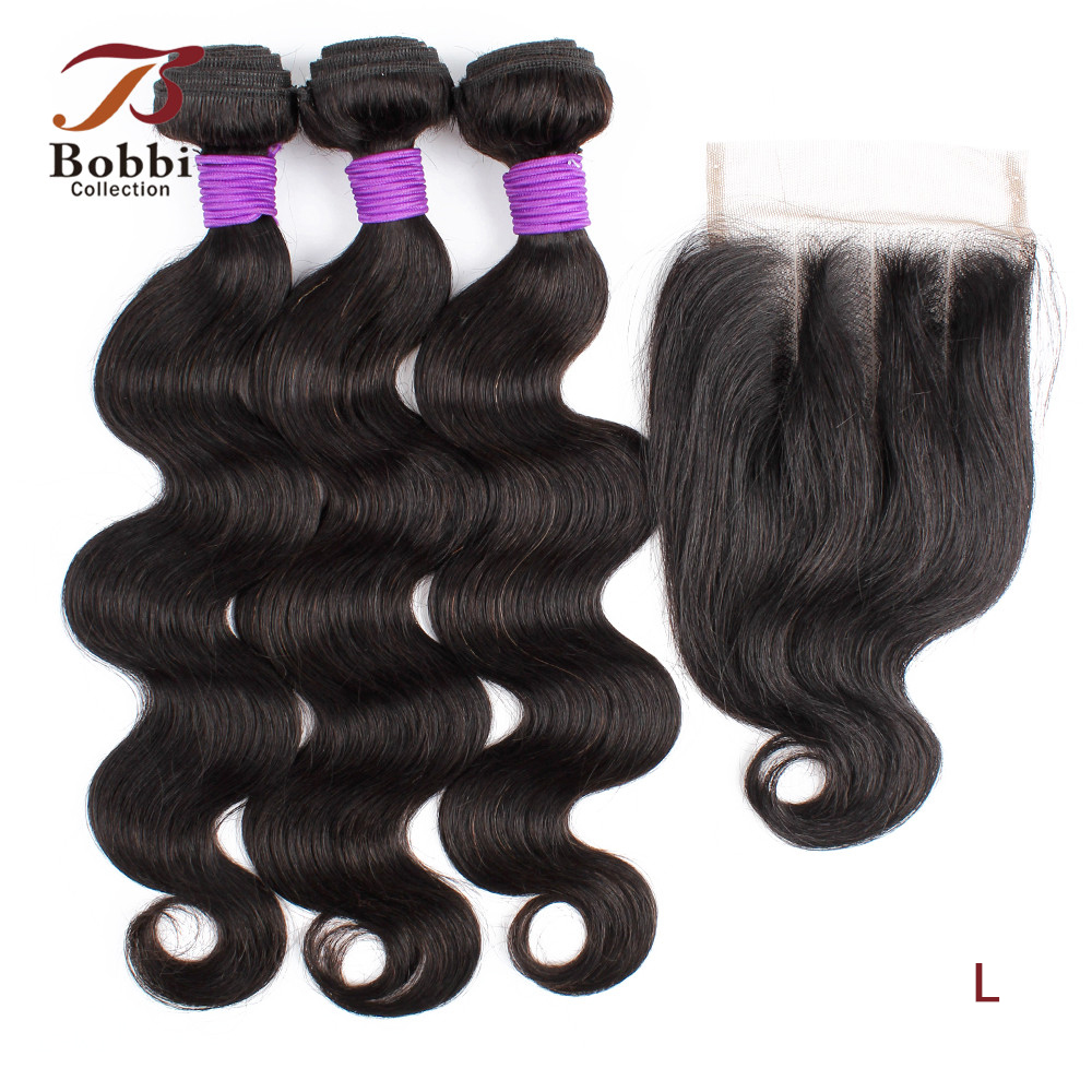 Bobbi Collection 3 Bundles With Three Part Lace Closure 200g/set Body Wave Hair Weave 12-22 Inch Brazilian Non-Remy Human Hair