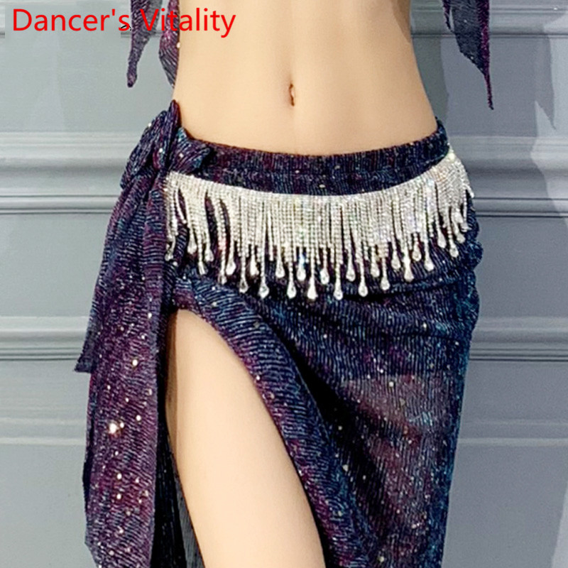 New Belly Dance Belt New Arrival Tassel Glitter Rhinestone Waist Chain Indian Oriental Dance Performance Competition Accessories