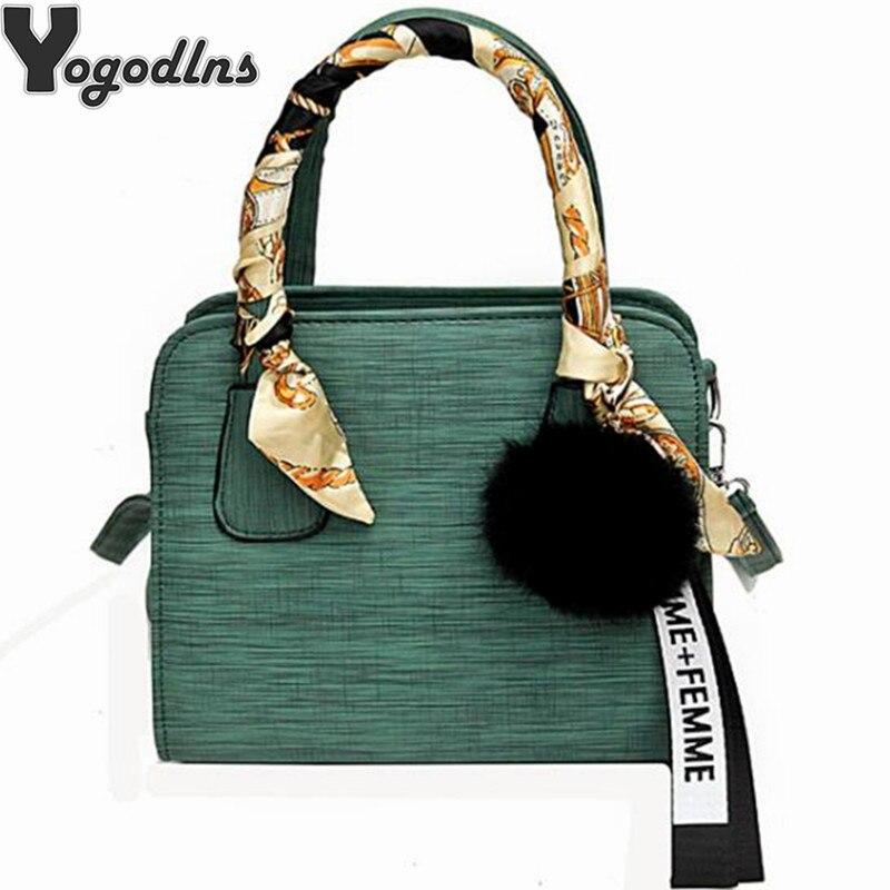 New Fashion Female Shoulder Bags 2019 Crossbody Bag Luxury Handbags Women Bags Square Designer Hair Ball Purse Travel Bag