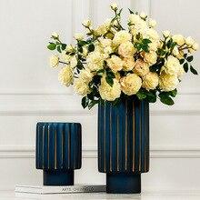 Современный минималистичный американский стиль золотая стеклянная ваза креативные скандинавские домашние настольные мягкие украшения