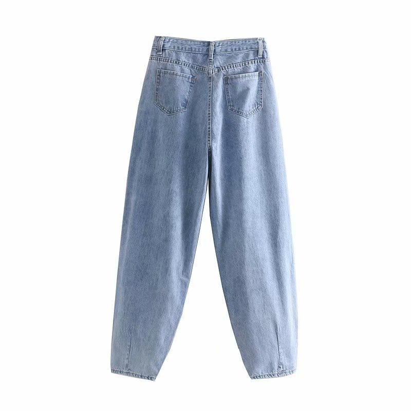 Aachoae Women Streetwear Pleated Mom Jeans High Waist Loose Slouchy Jeans Pockets Boyfriend Pants Casual Ladies Denim Trousers