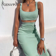 Genayooa Summer 2 Piece Skirt Set Women Slim Two Piece Set