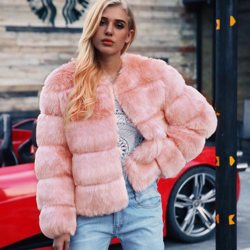 ZADORIN 2019 Korean Style Short Pink Faux Fur Coat Fluffy Fur Jackets Winter Women Plus Size Coats Warm Fur Parka Outerwear