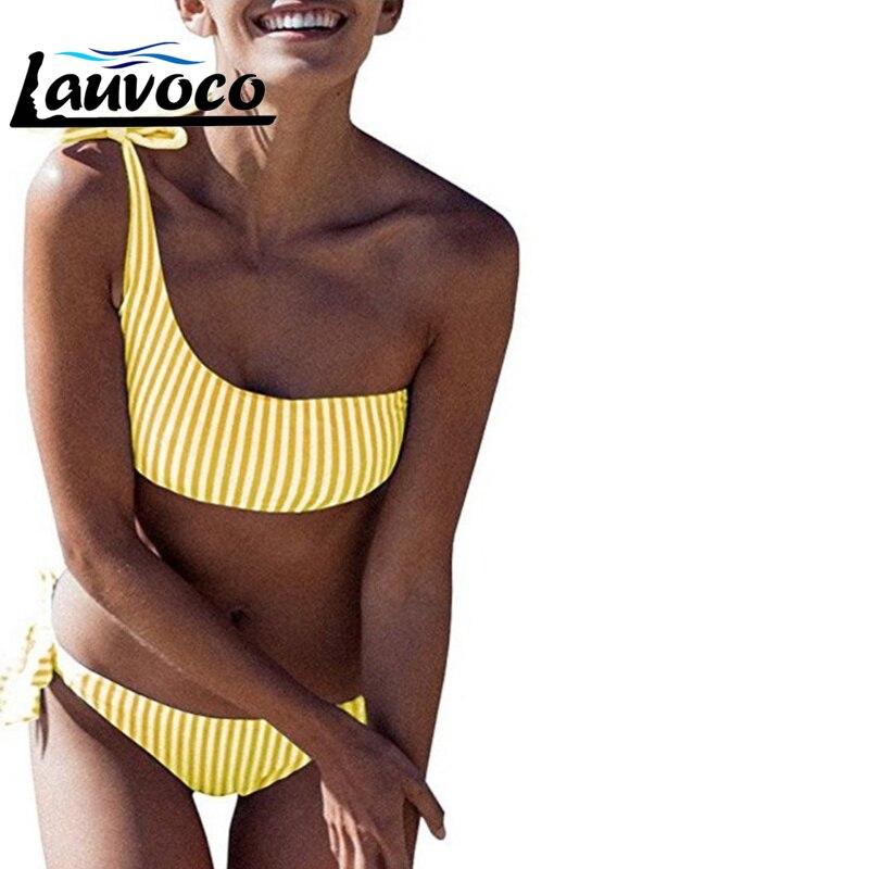 Striped One Shoulder Mini Bikini Sexy Swimsuit Women Bandage Bathing Suit Bikini Set Push Up Biquini Swimwear Maillot De Bain in Bikinis Set from Sports Entertainment