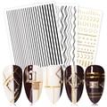 Золотой Серебряный ноготь наклейки самоклеящиеся полосатая Форма смешанный декоры переевода наклейки для ногтей, 3D нейл-арта украшения