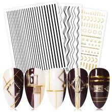 Ouro prata adesivos de unhas auto-adesivo listra forma padrões misturados transferência decalques unhas folhas 3d arte do prego decoração diy design