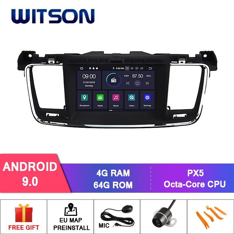 WITSON Android 9.0 IPS HD Screen for PEUGEOT 508 GPS RADIO NAVIGATION 4GB RAM+64GB FLASH 8 Octa Core STEREO+DVR/WIFI+DSP+DAB