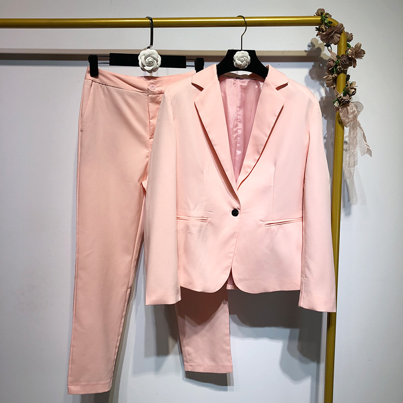 2020 New Spring And Autumn Fashion Women's Pants Suits Casual Pink Blazer Jacket Temperament Straight Trousers Two-piece