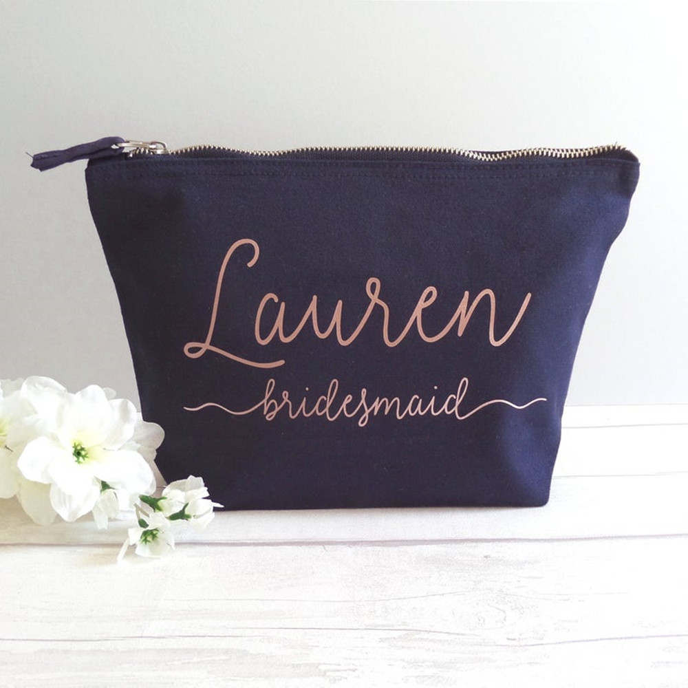 Personalized Custom Names Makeup Bag Case Canvas Bridesmaid Gifts Wedding Bridal Gift Toiletry Bags Maid of Honour Squad Bag