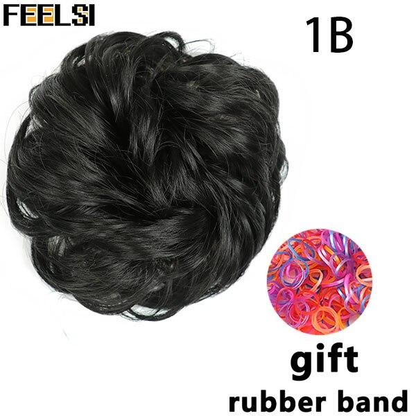 FEELSI синтетические гибкие волосы булочки кудрявые резинки шиньон эластичные грязные волнистые резинки для наращивания конского хвоста для женщин - Цвет: T1B/613