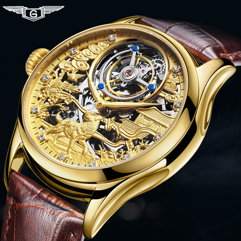 Tourbillon Watch 100% Original GUANQIN 2019 Watch men dog dial top brand luxury Sapphire waterproof skeleton Relogio Masculino