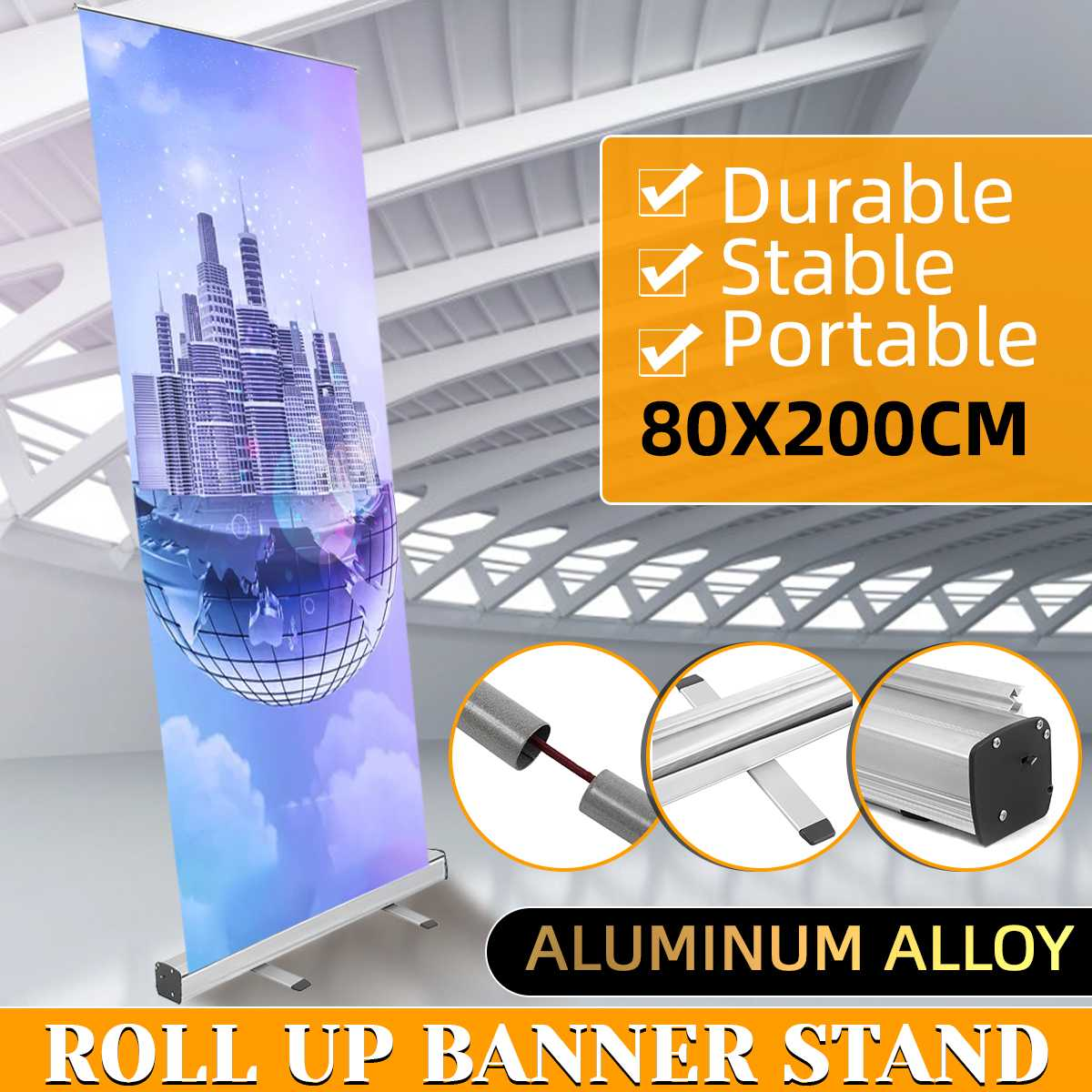 80x200cm Indoor Banner Sign Stand Poster Display Holder Roll Up Floor Stand Aluminum Alloy Advertising Poster Stand Bag Kit