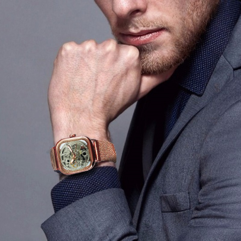 H30c3f51f556c460db7691eb053a592f9C FORSINING Top Brand Luxury Unisex Watch Men Auto Mechanical Hollow Dial Magnet Strap Fashion Royal Wristwatch HIP HOP Male Clock