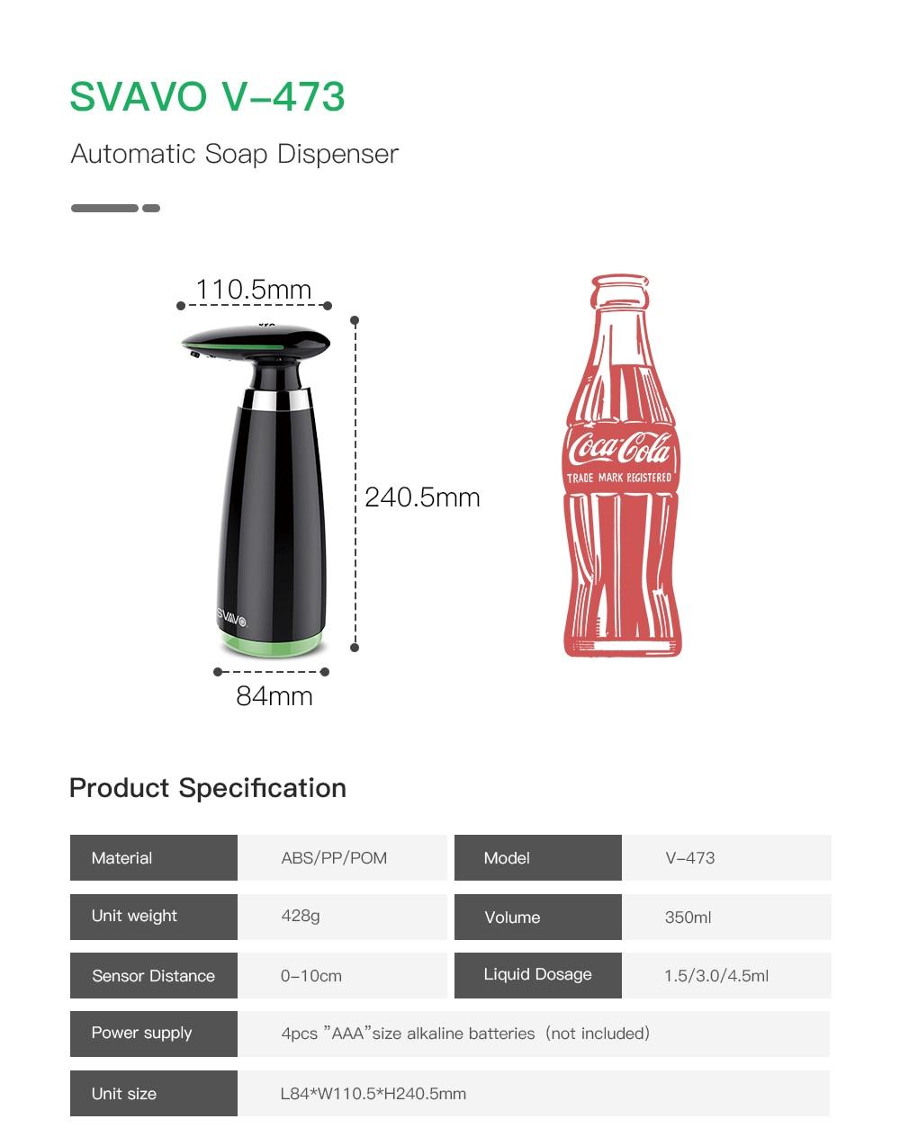 H30c41047b1cd4ec5b6a54df8aa18906fL SVAVO 350ml Automatic Soap Dispenser Infrared Touchless Motion Bathroom Dispenser Smart Sensor Liquid Soap Dispenser for Kitchen