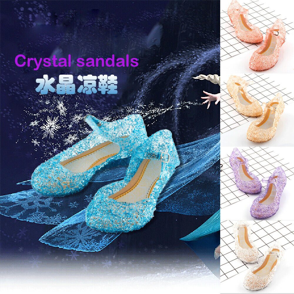 Pudcoco Girls Kids Summer Crystal Sandals Frozen Princess Jelly High-Heeled Shoes Princess Frozen Elsa Cosplay Party Dance Shoes