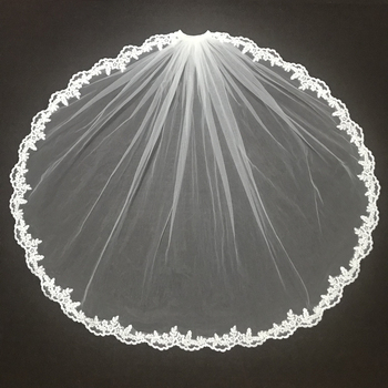 One Layers Wedding Veils  Lace Applique Tulle Net Veil Fingertip Length White/Ivory Bride Accessories - discount item  55% OFF Wedding Accessories
