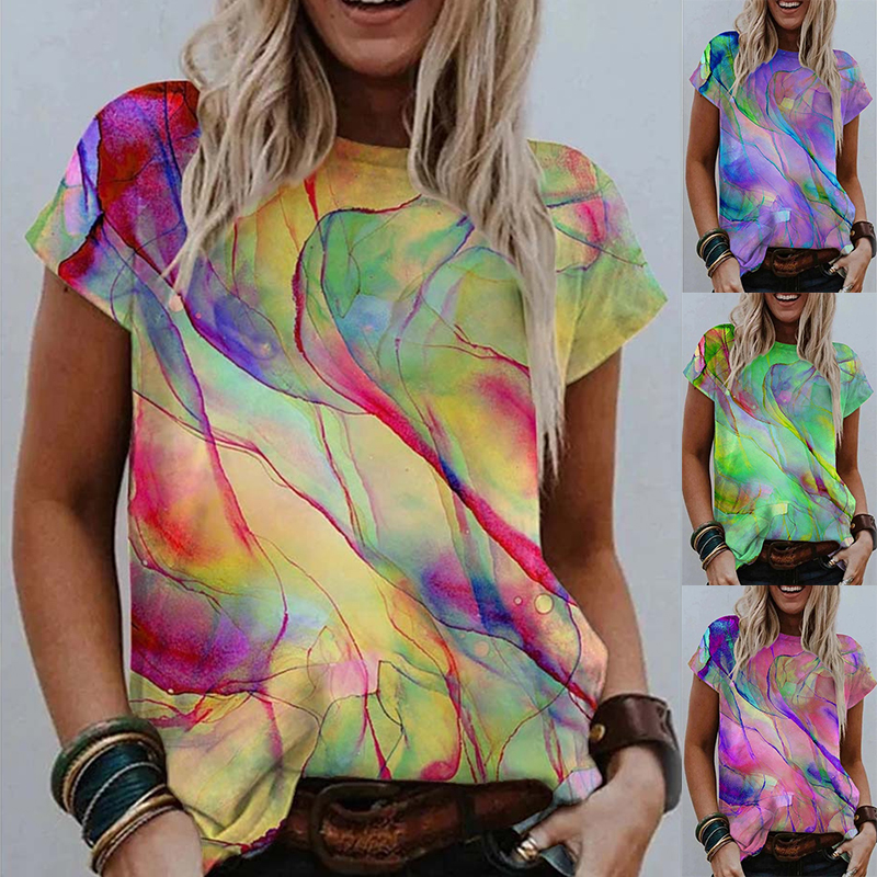 Summer New Urban Casual Color Printed Round Neck Women's Short Sleeve T-Shirt Ladies Plus Size Loose Fashion Street Style Tops
