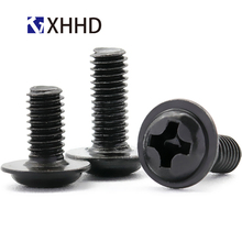 M2 M2.5 M3 M4 M5 Steel Black Phillips Cross Recessed Pan Washer Head Machine Screw Metric Thread Wafe Head Bolt m2 m2 5 m3 m4 phillips cross recessed pan head machine screw iron metric thread round head bolt black steel