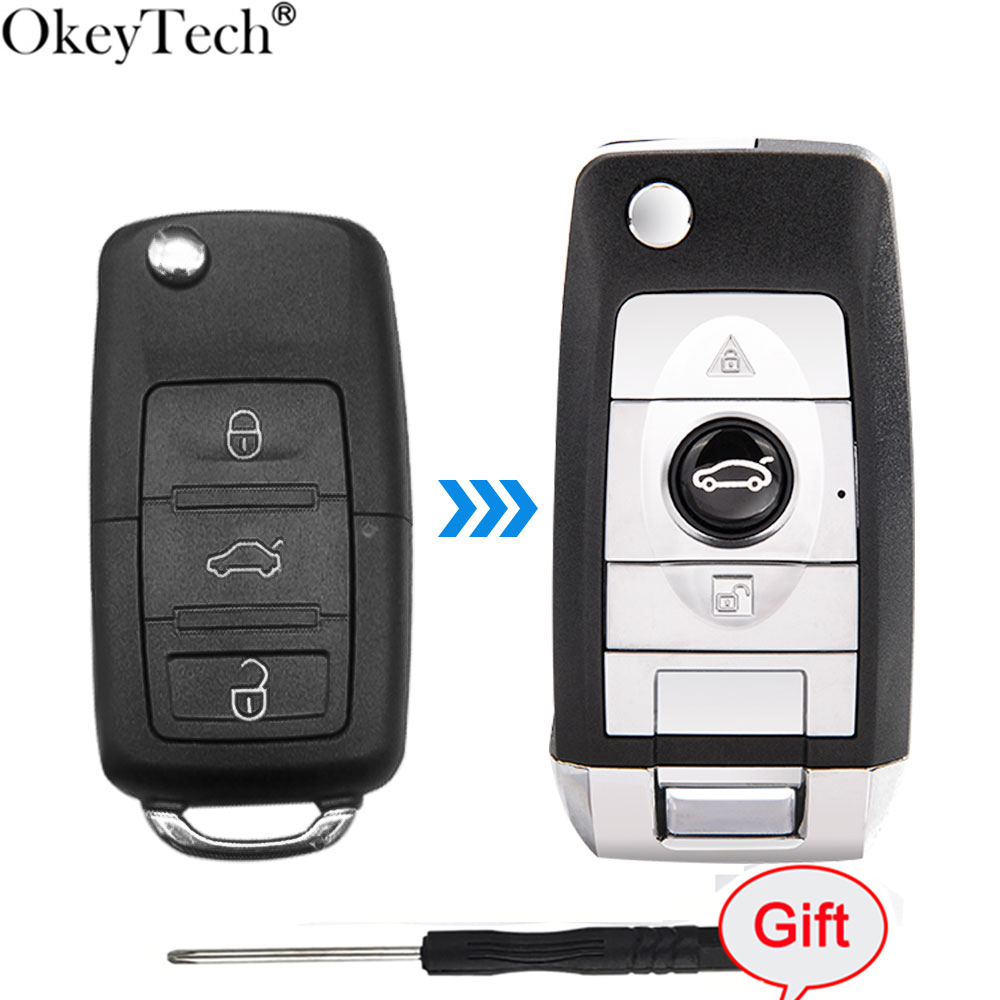 Okeytech Auto Case Modified Folding Flip Car <font><b>Remote</b></font> <font><b>Key</b></font> Shell With Blade for Volkswagen <font><b>Golf</b></font> <font><b>7</b></font> Passat Beetle Polo Bora 3 Buttons image