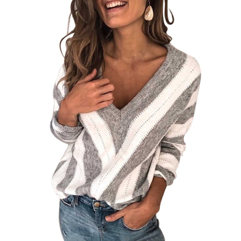 S-5XL kadın bluz derin V çizgili ince kazak sonbahar triko üstleri rahat uzun kollu gömlek Jumper çekin Femme kazak Blusas