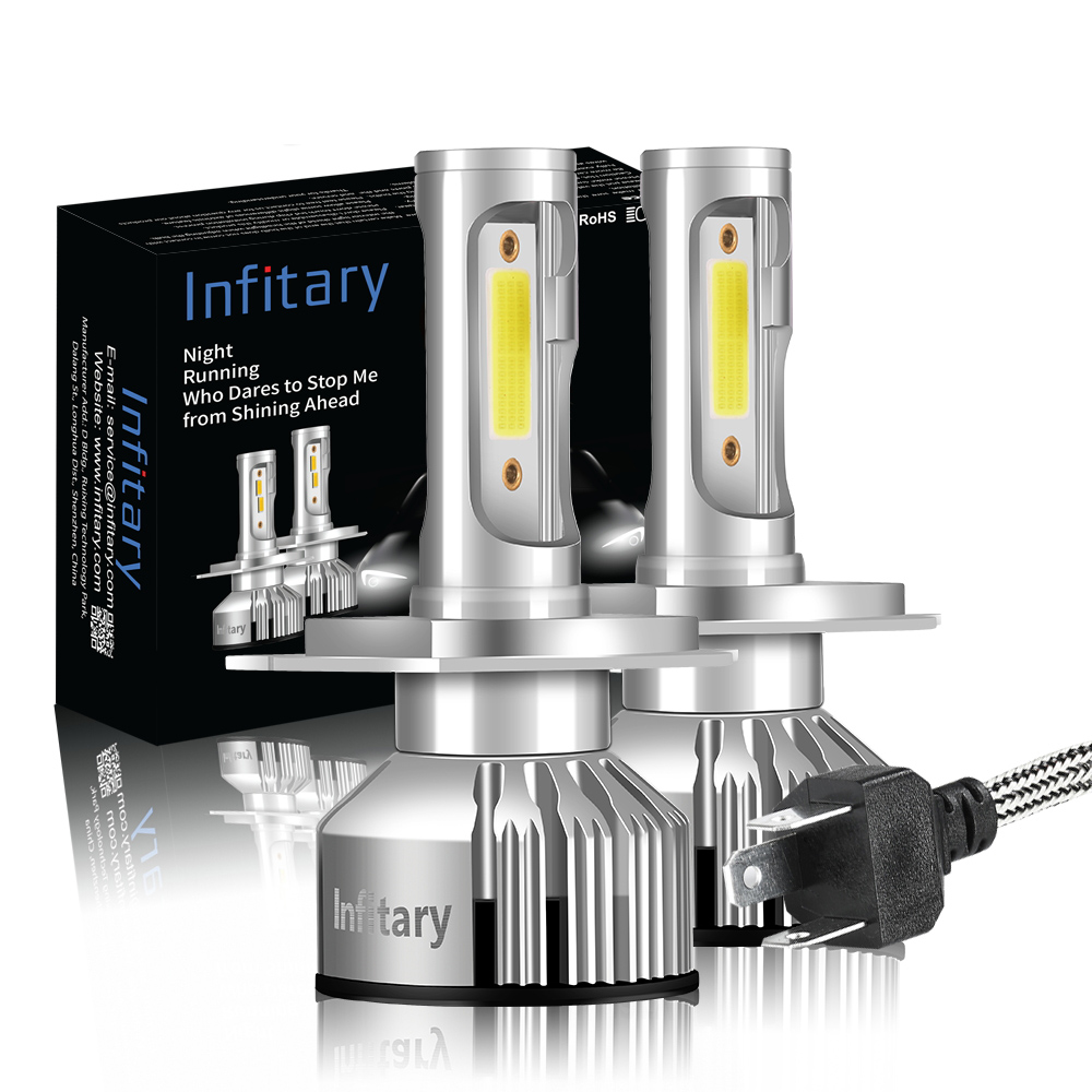 Infitary 2Pcs COB Car H7 Led Headlight H4 H1 H3 H11 H13 9004 9005 9006 9007 Lamps 10000LM 3000K 4500K 6500K Mini Auto Light