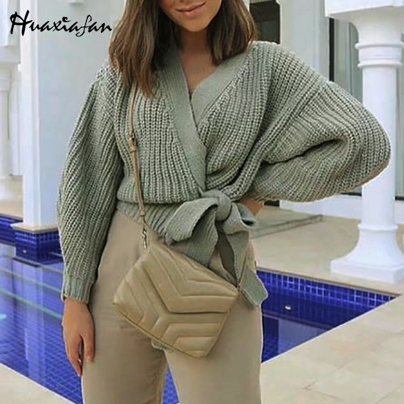 Huaxiafan Cardigans Solid Belt Sweaters Women Autumn Outwear Casual Tops Elegant V Neck Puff Sleeves Vintage Warm Cardigans New