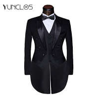 Men's Black Color Tuxedo 3 Pieces Casual Suit (Jacket + Pant+Vest ) Wedding&Party Single breasted Coat Handsome Design For Male