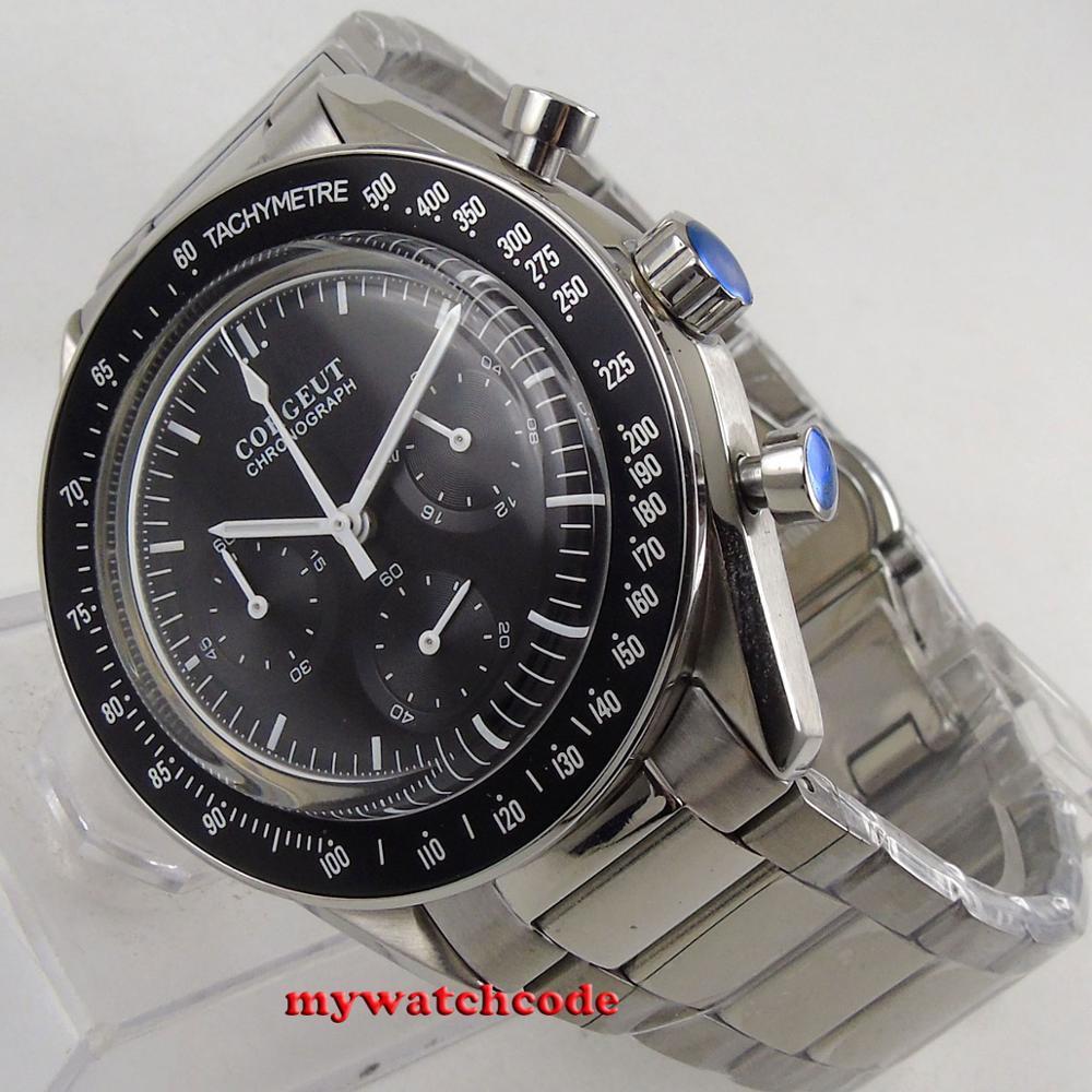 Chegam novas marca de luxo superior 40mm corgeut preto dial 24 horas aço inoxidável pulseira quartzo cronógrafo completo relógio masculino c176 - 6
