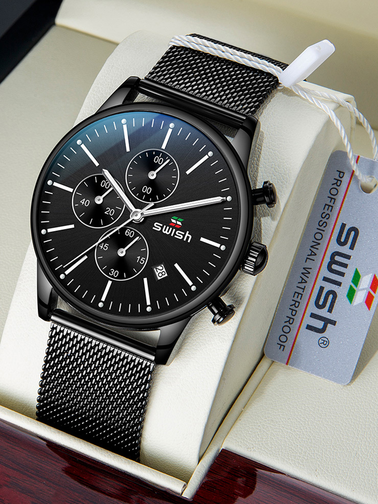 SWISH 2020 Top Brand Men's Quartz Wristwatch Stainless Steel Watch for Men Luxury Casual