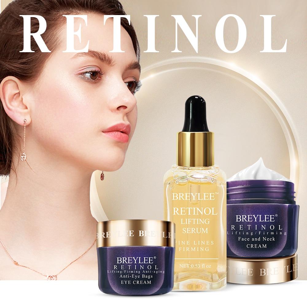 Breylee Retinol Skin Care Set Anti Aging Firming Facial Serum Face Cream Eye Cream Remove Fine Line Wrinkle Tighten Moisturizing