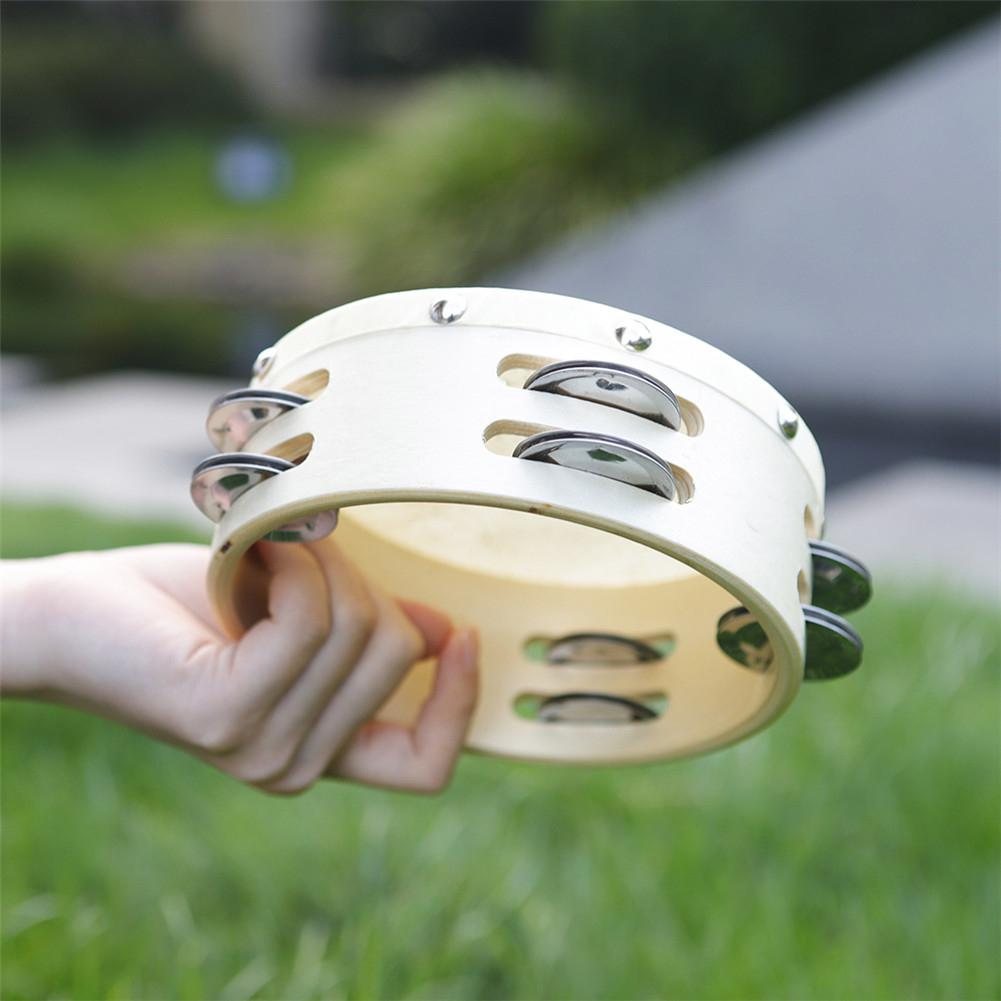 6 Inch Double Tambourine Round Timbrel Hand Drum Children Puzzle Musical Instrument Toy Percussion Instrument