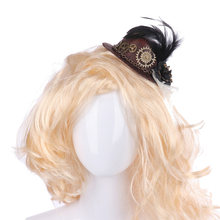 Women Accessories Hair Clip Goth Decor Gift Steampunk Floral Wedding Fascinator Lolita Party Headwear Feather Gear Mini Top Hat(China)