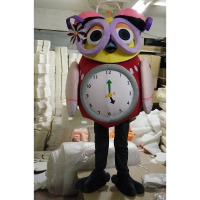 Owl Clocks and watches Mascot Costume Suits Cosplay Party Dress Outfits Advertising Carnival Halloween Xmas Outdoor Event Adults