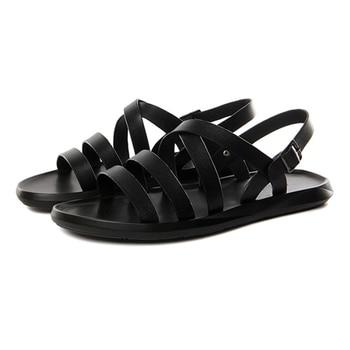 New Arrival 2020 Men's Shoes Fashion Summer Men's Leather Sandal Shoes Rome Sandalias Mujer Black Leather Beach Sandals Men