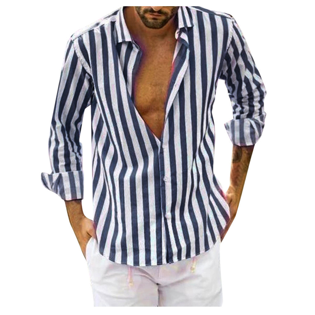 Men Vertical Striped Slim Fit Long Sleeve Button Down Dress Shirt Camisa Masculina Camisas Hombre Plus Size Shirts Hawaiian Ropa