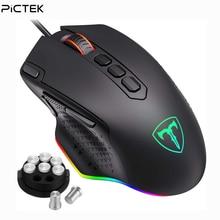 PICTEK 12000 dpi Проводная игровая мышь, геймерская эргономичная мышь USB с RGB подсветкой, 10 кнопок для Windows, компьютерные мыши